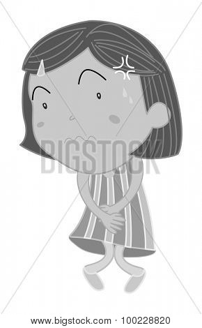 Girl holding her stomach and twisting legs illustration