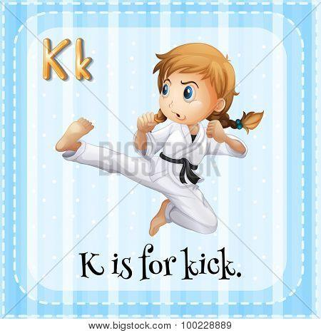 Flashcard of K is for kick illustration