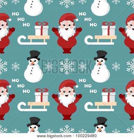 seamless christmas pattern with santa claus, sledge and snowman