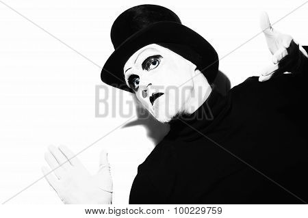 Mime Wearing A Black Top-hat