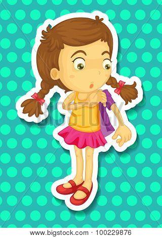 Sticker of girl wearing jacket illustration
