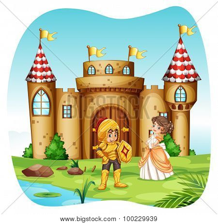 Knight and princess with castel illustration