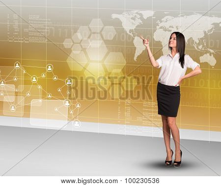 Businesslady pointing at map