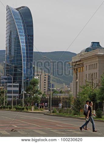 Blue Sky Tower in the center of Ulaanbaatar, Mongolia