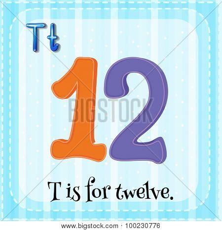 Flashcard of T is for twelve illustration