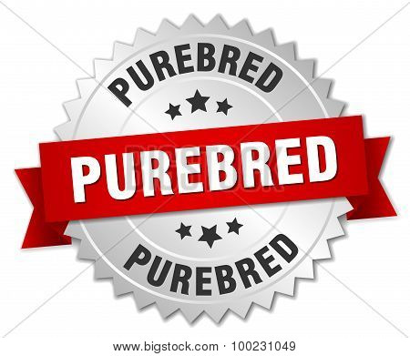 Purebred 3D Silver Badge With Red Ribbon