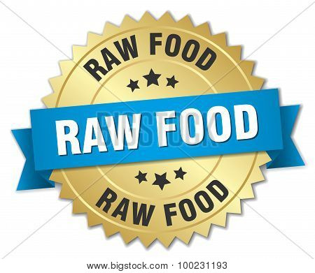 Raw Food 3D Gold Badge With Blue Ribbon