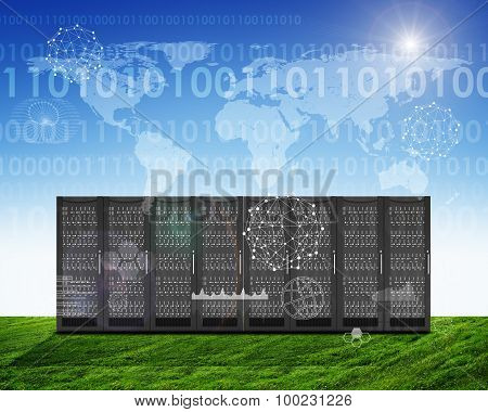 Set of metal lockers on green grass