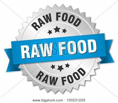 Raw Food 3D Silver Badge With Blue Ribbon