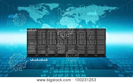 Set of steel lockers on abstract blue background