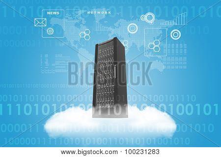 Steel locker on cloud in sky