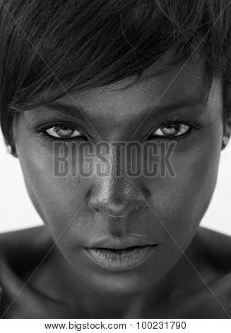 Beautiful African American Woman Staring