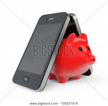 Piggy Bank With Mobile Phone