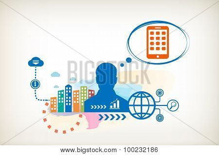 Mobile Phone And Person With Bubbles For Dialogue. Think And Decide.
