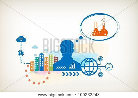 Laboratory Flask And Person With Bubbles For Dialogue.