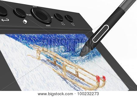 Digital Graphic Tablet With Pen And Sledges Drawing