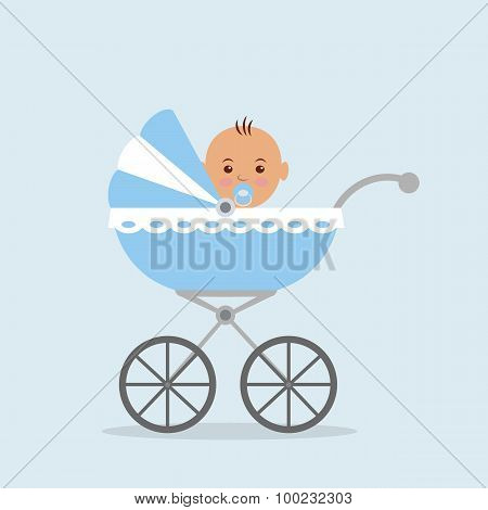 Newborn baby sitting in the baby carriage