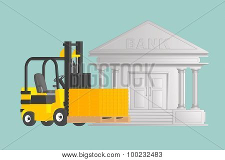 Flat Conceptual Illustration Of Forklift With  Golden Bars Near Bank