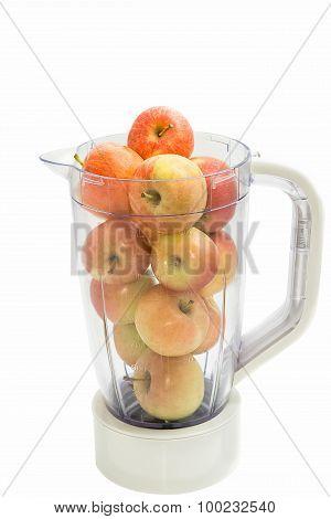 Apples Fruits Into Plastic Blender