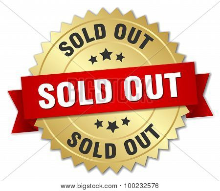 Sold Out 3D Gold Badge With Red Ribbon