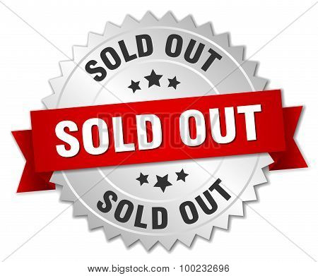 Sold Out 3D Silver Badge With Red Ribbon