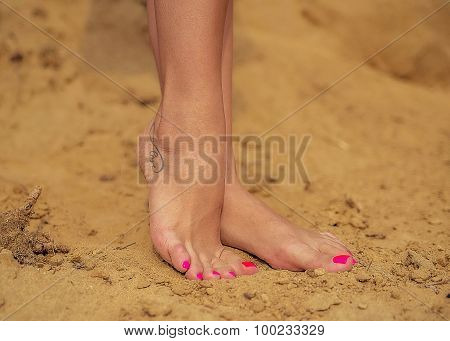 The female feet standing on sand on a beach