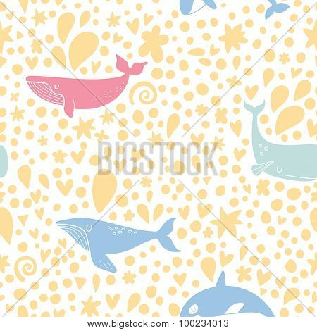 Lovely seamless pattern with stylish whales in summer colors. Sweet underwater concept background in vector