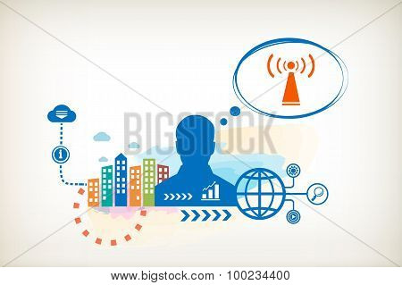 Wi Fi And Person With Bubbles For Dialogue.