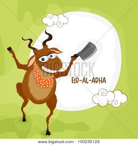 Funny illustration of a goat with cleaver knife on green background for Islamic Festival of Sacrifice, Eid-Al-Adha celebration.
