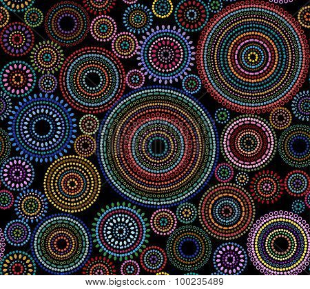 Abstract background pattern of multicolored circles and dots, vector illustration