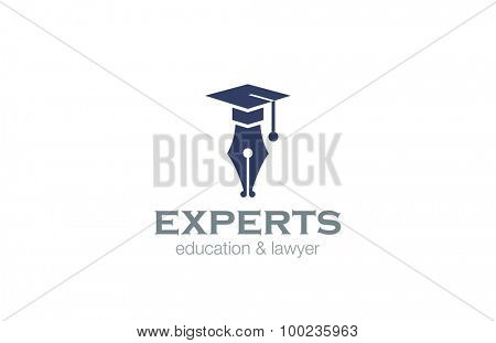 Lawyer Education Logo design vector template. Pen with Square Academic Hat logotype concept icon.