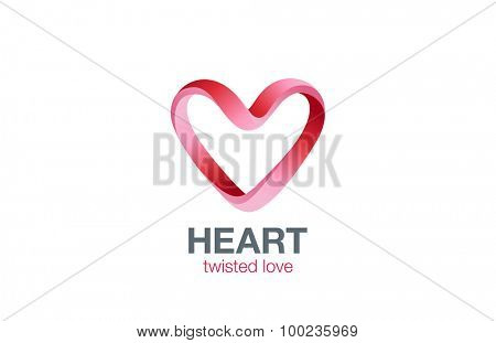 Heart shape Ribbon twisted Logo design vector template. St. Valentines day Love dating concept icon. Cardiology medical Logotype.