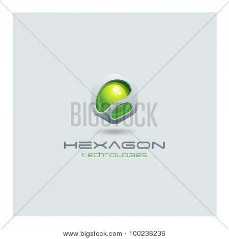 Hexagon abstract Logo media web technology design vector template. Sci-fi creative hitech style logotype icon.