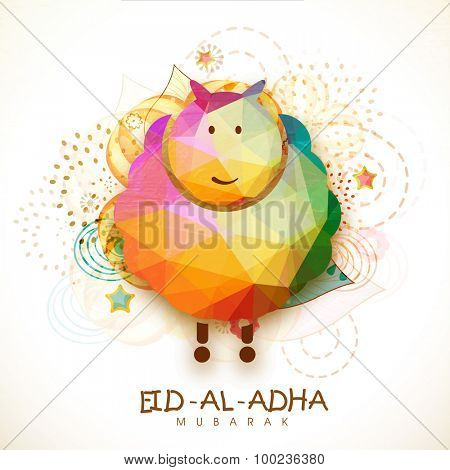 Creative colorful origami goat on floral design decorated background for Islamic Festival of Sacrifice, Eid-Al-Adha celebration.