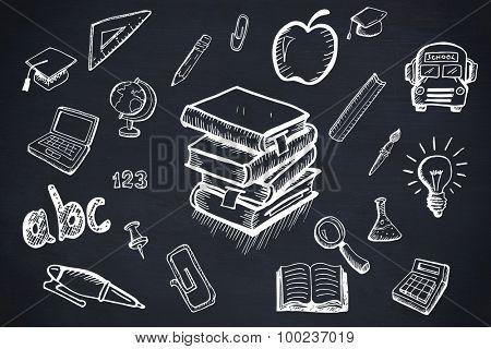Education doodles against blackboard