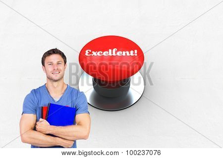 The word excellent! and smiling man looking at camera against digitally generated red push button