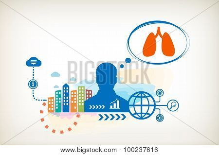 Lungs And Person With Bubbles For Dialogue.
