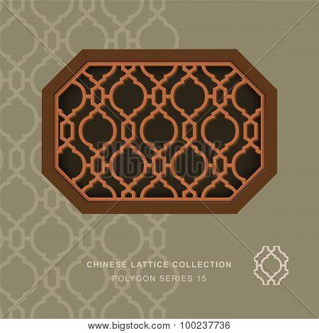 Chinese window tracery polygon frame 15 diamond round