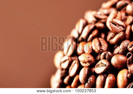 Brown Coffee Beans, Close Up Of Coffee Beans For Background And Texture Macro