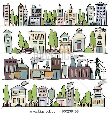 Scketch Big City Architecture