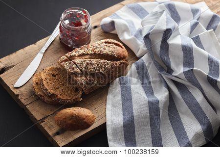 Dark Multigrain Bread Whole Grain And Jam Fresh Baked On Rustic