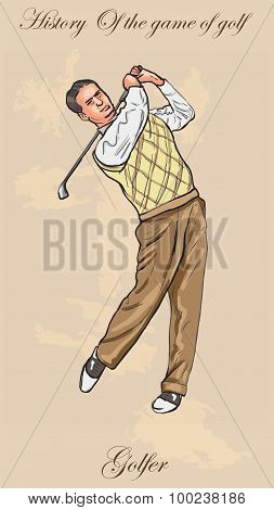 Vintage Golf And Golfers - Freehand Into Vector