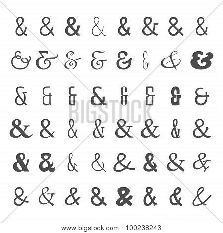 Vector icon set of black ampersands