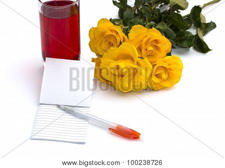 Glass Of Juice, Notebook With The Handle And A Bouquet Of Roses