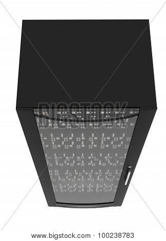 Black metal locker with handle, close up view