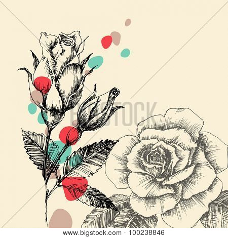 Floral greeting card, retro hand drawn roses with color drops