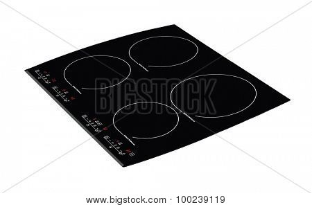 Induction hob with touch control panel isolated on white.