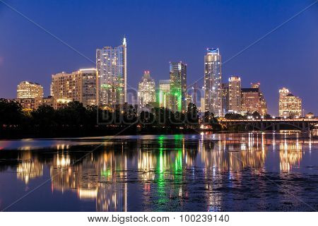 Beautiful Austin Skyline Reflection At Twilight