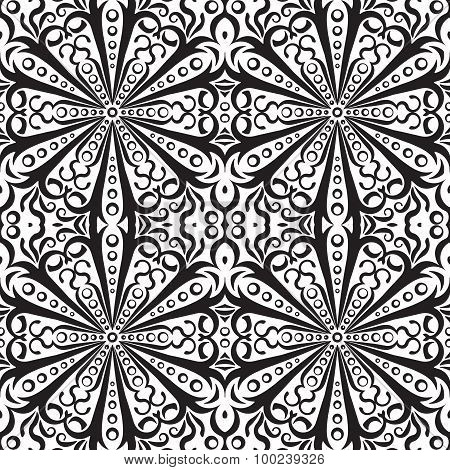 Rich Decorated Monochrome Seamless Pattern. Vector Ornate Floral Design.