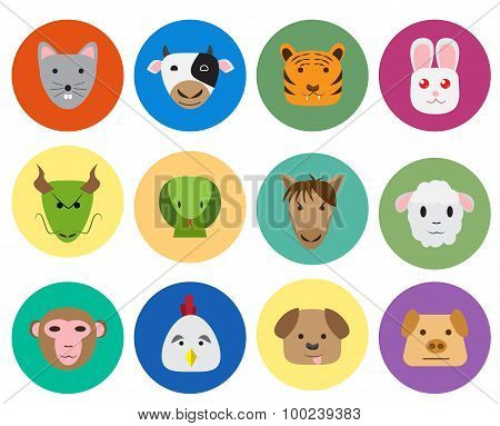 Chinese Zodiac 12 Animal Icon In Cute Style